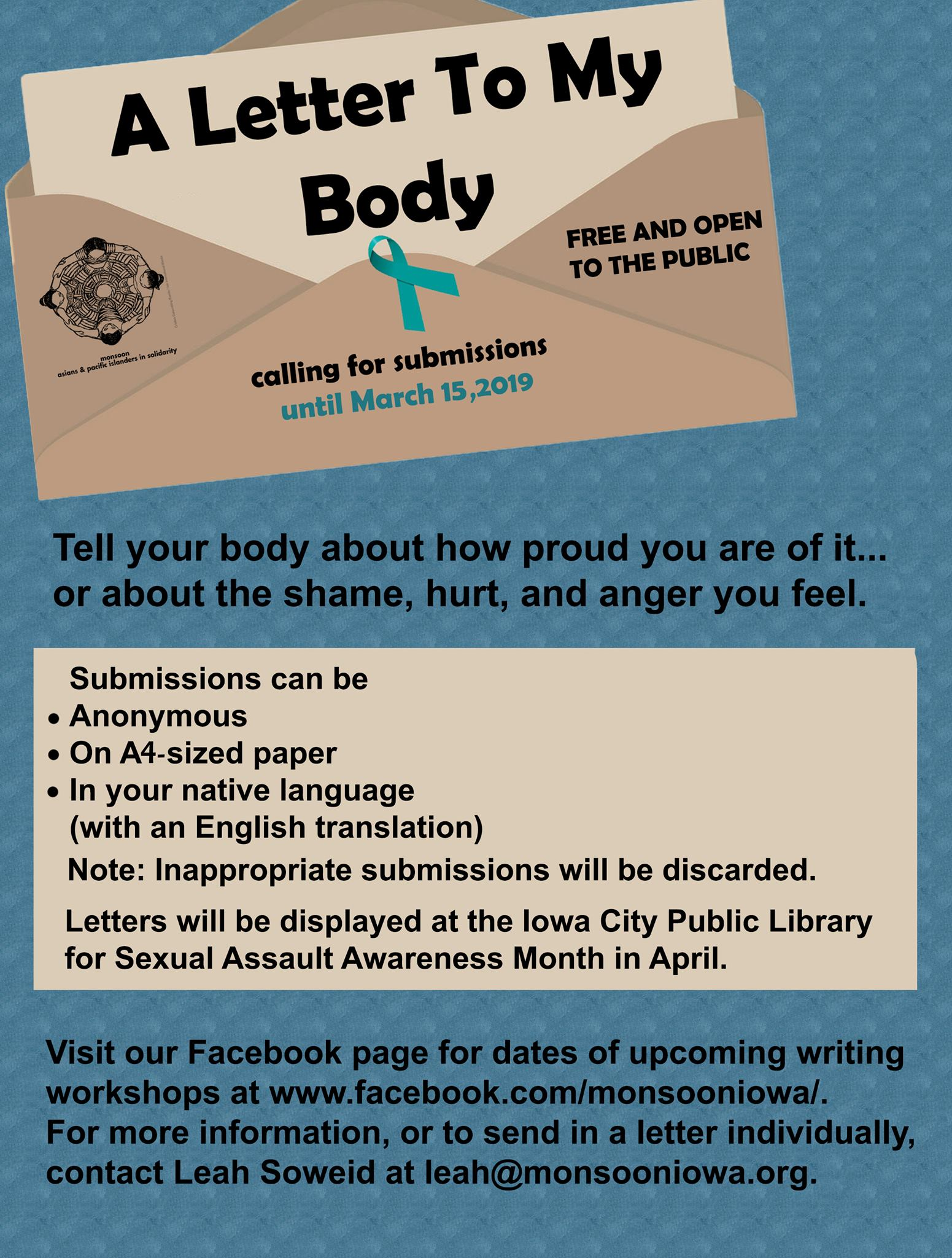Calling for Submissions! A letter to my body… – Monsoon Asians and